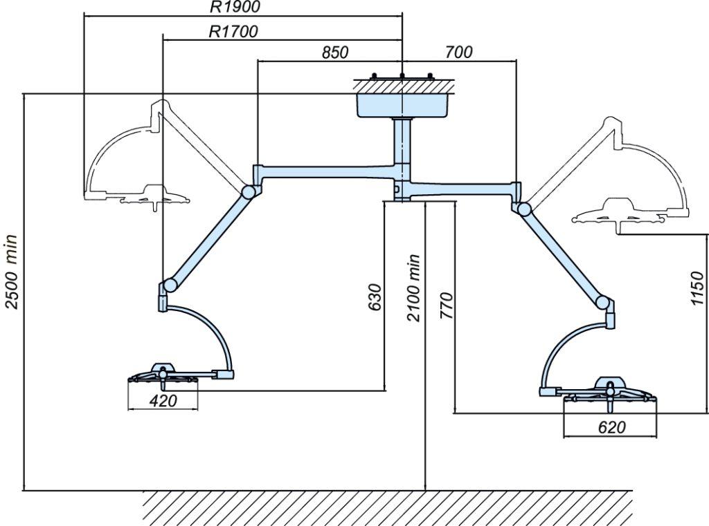 Схема светильника операционного потолочного «ЭМАЛЕД 500\300»
