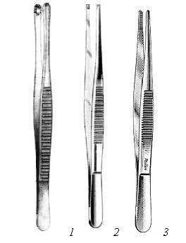 1 – пинцет лапчатый; 2 – пинцет хирургический; 3 – пинцет анатомический